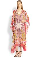 Etro Floral Paisley Silk Caftan - Lyst