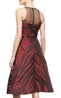 Pamella Roland Sleeveless Animalprint Midi Dress - Lyst