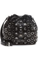 Miu Miu Crystal-embellished Leather Drawstring Bag - Lyst