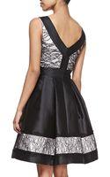 Theia Sleeveless Lace Detail Cocktail Dress Blackwhite - Lyst