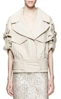 Jason Wu Cropped Cottonstretch Utility Trench Jacket Beige - Lyst