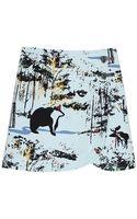 Tibi Forest Print Mini Skirt - Lyst