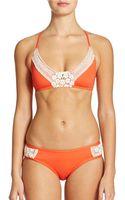 Lucky Brand Crochet Detail Bikini Top - Lyst