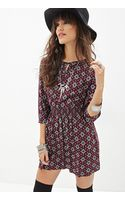 Forever 21 Abstract Print Peasant Dress - Lyst