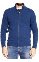 Fred Perry Super Soft Shetland Zipped Cardigan with Shawl Collar Sweater  - Lyst