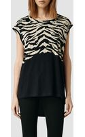 AllSaints Tigre Curved Tee - Lyst