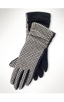 Lauren by Ralph Lauren Ruched Houndstooth Gloves - Lyst
