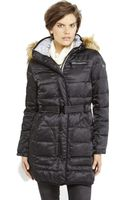 Vince Camuto Faux Fur Trim Hooded Belted Down Coat - Lyst