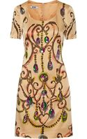 Moschino Cheap & Chic Embellished Crepe Mini Dress - Lyst