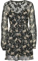 Topshop Scallop Lace Sleeve Dress - Lyst