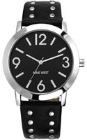 Nine West Womens Silvertone Studded Black Strap 42mm Nw - Lyst