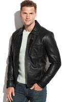 Kenneth Cole Fullzip Leather Jacket - Lyst