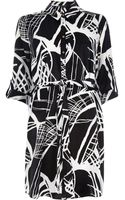 River Island Black Print Shirt Dress - Lyst
