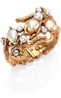 Oscar de la Renta Swarovski Crystal Faux Pearl Coral Branch Cuff Bracelet - Lyst