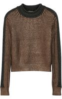 3.1 Phillip Lim Metallic Ribbedknit Sweater - Lyst