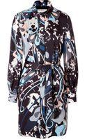 Emilio Pucci Printed Silk Shirtdress - Lyst