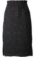 Comme Des Garçons Textured Straight Skirt - Lyst