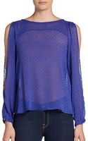 BCBGeneration Swiss Dot Cold-shoulder Blouse - Lyst