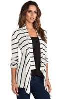 Autumn Cashmere Striped Ribbed Drape Cardigan - Lyst