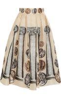 Dolce & Gabbana Printed Silksatin Organza Midi Skirt - Lyst