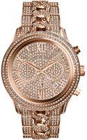 Michael Kors Ladies Rose Goldtone Lindley Chronograph Glitz Watch - Lyst