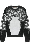 Roberto Cavalli Laceintarsia Fleece and Knitted Sweater - Lyst
