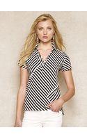 Blue Label Striped Cotton Mesh Polo Shirt - Lyst