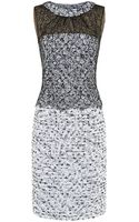 Oscar de la Renta Lace Overlay Tweed Sheath Dress - Lyst