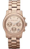 Michael Kors Runway Rose Goldtone Stainless Steel Chronograph Bracelet Watch - Lyst