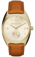 Michael Kors Ladies Callie Gold Tone Watch with Leather Strap - Lyst