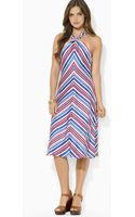 Ralph Lauren Lauren Sleeveless Stripe Dress - Lyst