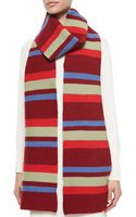 Marc By Marc Jacobs Rory Striped Knit Wool Scarf Red - Lyst
