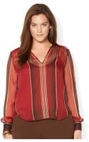 Lauren by Ralph Lauren Plus Striped Georgette Shirt - Lyst