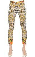 Dolce & Gabbana Printed Stretch Silk Charmeuse Trousers - Lyst