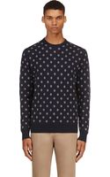 Paul Smith Navy Cube Print Knit Sweater - Lyst