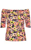 River Island Pink Floral Print Bardot Top - Lyst