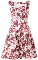 Oscar de la Renta Abstract Floral Print Dress - Lyst