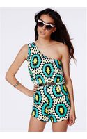 Missguided Inaya Aztec One Shoulder Playsuit - Lyst