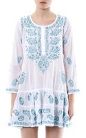 Juliet Dunn Embroidered Cotton Kaftan - Lyst