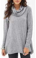 Forever 21 Cowl Neck Knit Sweater - Lyst