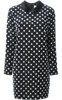 Victoria, Victoria Beckham Polka Dots Collared Shift Dress - Lyst