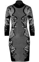 Roberto Cavalli Wool Blend Intarsia Knit Dress - Lyst