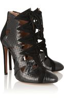 Alaïa Cutout Python and Suede Ankle Boots - Lyst