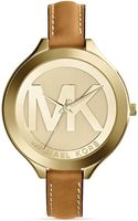 Michael Kors Goldtone Luggage Leather Slim Runway Watch 42mm - Lyst