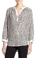 Rebecca Taylor Printed Silk Blouse - Lyst