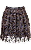 Mary Katrantzou Pinstriped Lace Pleated Skirt - Lyst