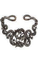 Roberto Cavalli Snake Flowers Rutheniumplated Swarovski Crystal Collar Necklace - Lyst