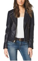 Michael Kors Quiltedpanel Leather Jacket - Lyst
