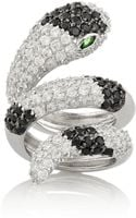 Noir Jewelry Snake Rhodiumplated Crystal Ring - Lyst