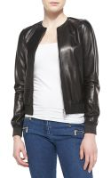 Michael Kors Ribtrim Leather Bomber Jacket - Lyst